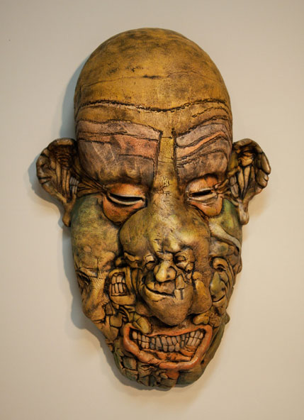 Bill Abright ceramic Mask- Boogie Man. Beautifully Ugly, ceramic/acrylic,